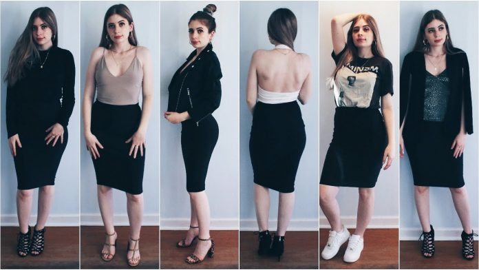 black skirt outfit